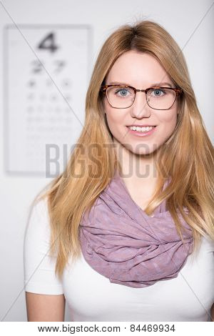 Blonde Girl Wearing Glasses