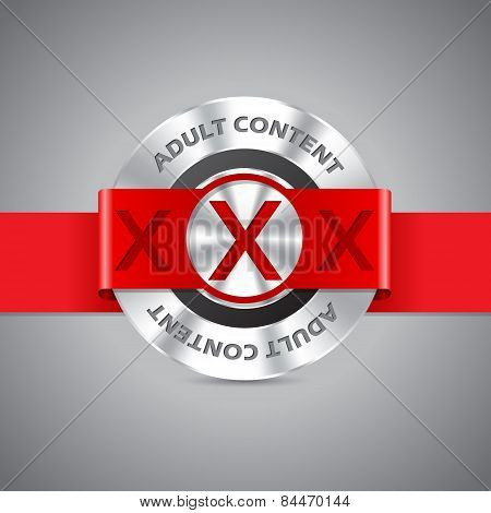Adult Content Badge With Triple Xxx