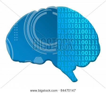 Artificial Intelligence Binary Techy Brain