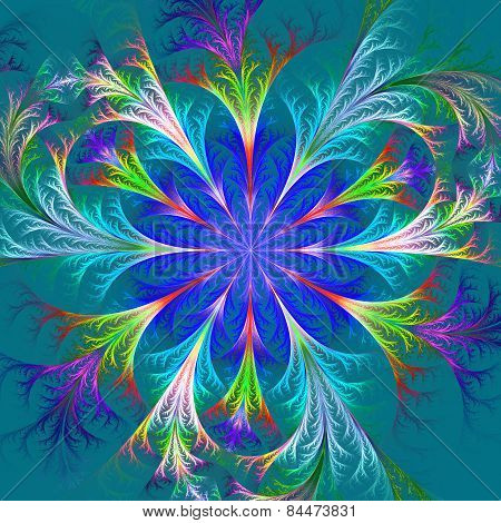 Beautiful Multicolored Fractal Flower. Collection - Frosty Pattern. Computer Generated Graphics.