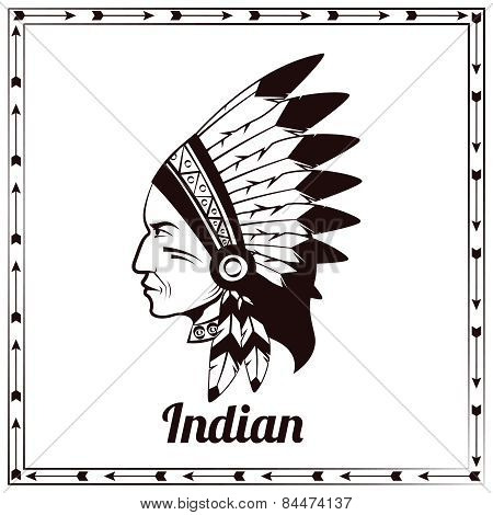 American indian chieftain black sketch