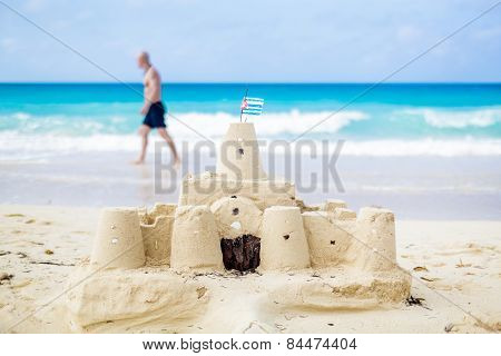 Cuban Sandcastle With The Country Flag In Cuba.