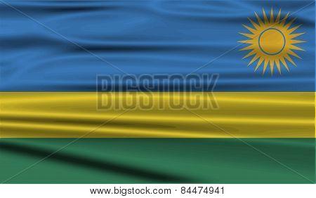 Flag Of Rwanda With Old Texture. Vector