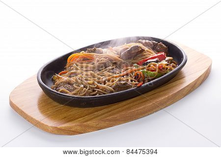 Japanese Food: Soba Noodles With Meal And Vegetables