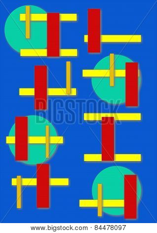 green bubbles with red and yellow lines on blue background