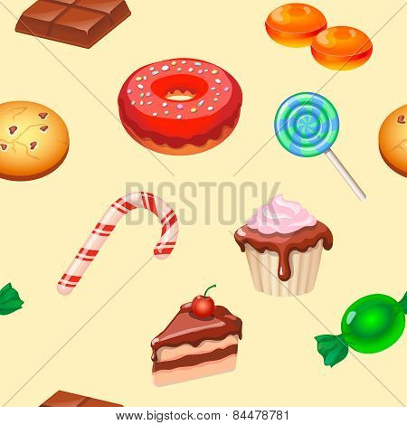Seamless Pattern Colorful Candy, Sweets And Cakes.