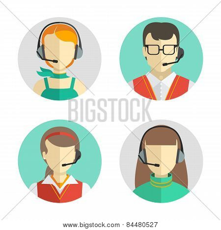 Male And Female Call Center Avatars In A Flat Style With A Headset, Conceptual Of Communication. Vec