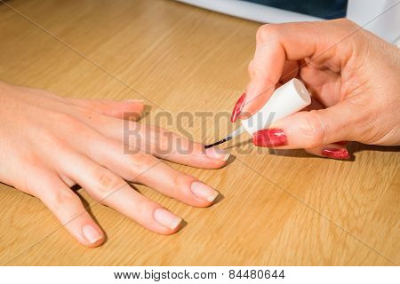 Manicure in the spa salon.