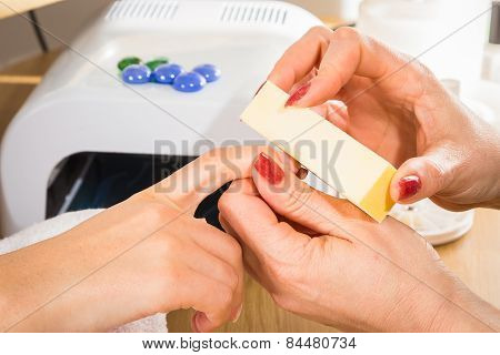 Manicure in the spa salon