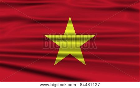 Flag Of Vietnam With Old Texture. Vector