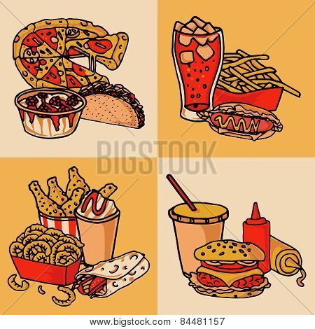 Fast food menu concept flat