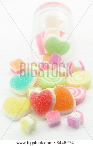 Sweet Jelly Candies And Jelly Hearts