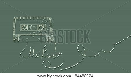 Vector Illustration Of Tape Cassette On Green.