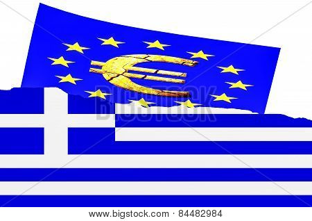 Illustration The Greek Flag, Euro Symbol