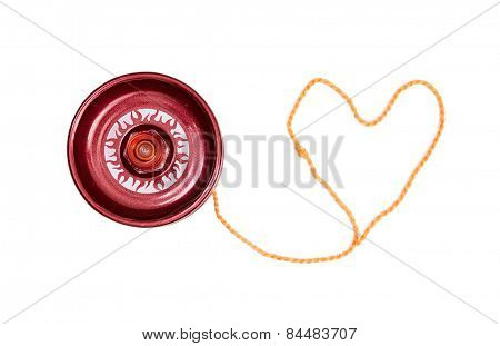 Red Yoyo With Heart-shaped Twine