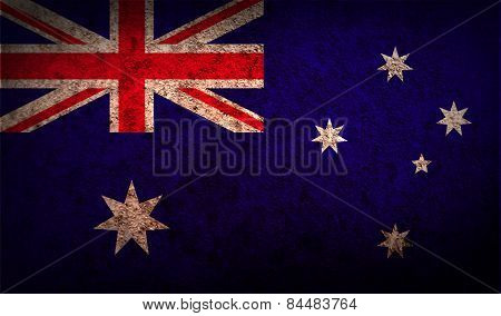 Flag Of Australia With Old Texture. Vector