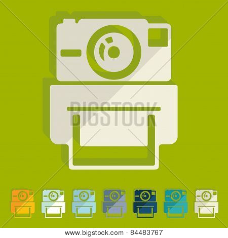 Flat design. old photocamera