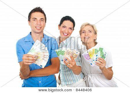 Happy People Holding  Euro Money