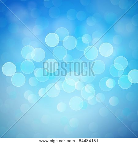 Vector Blue Bokeh Lights Abstract Background