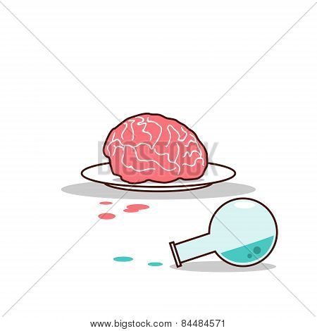 Isolated cartoon brain on plate and blue chemical