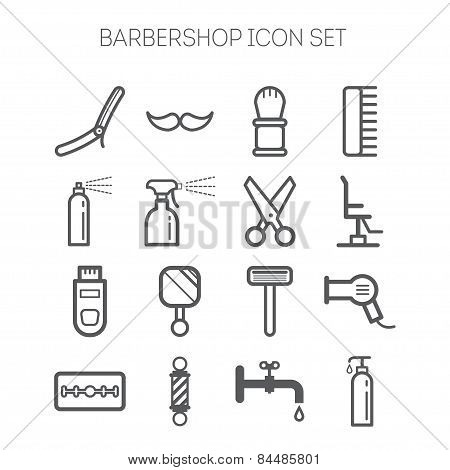 Set of simple monochromatic barbershop icons