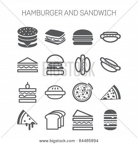 Set of simple icons with hamburgers, sandwiches and pizza for web design, sites, menu, restaurants,
