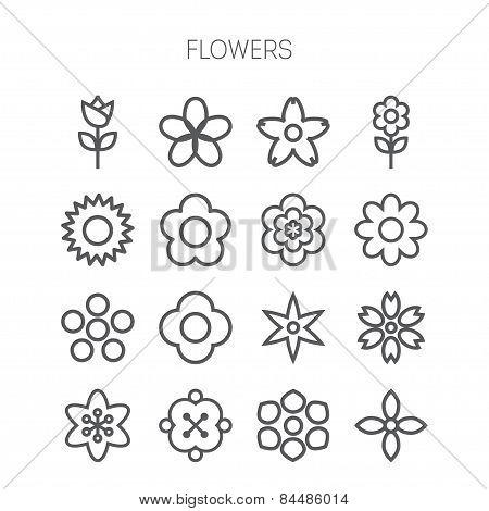 Simple monochromatic flower icon set