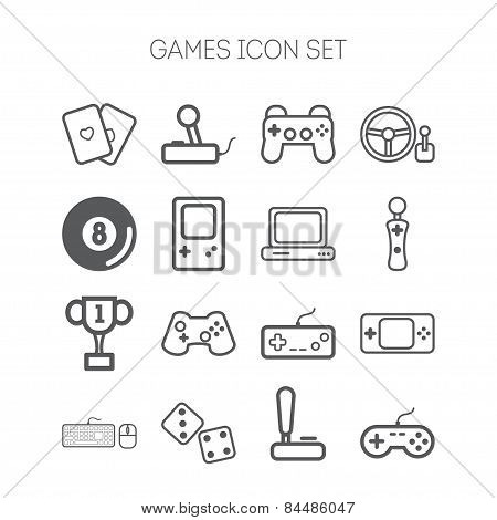 Set of simple icons for video games, controllers, web and applications