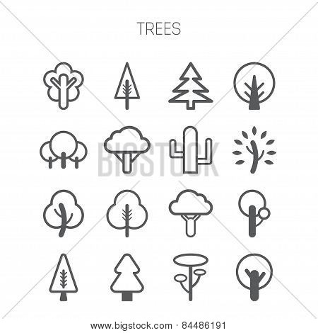 Set of simple monochromatic tree icons
