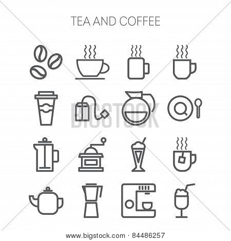 Set of simple icons for restaurant, cafe, coffee, tea, web and applications