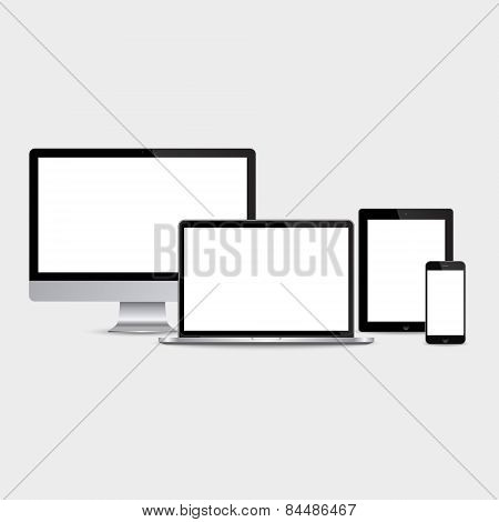 Realistic Computer, Laptop, Tablet And Smartphone Set