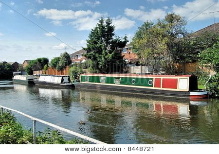Three Moored Barges