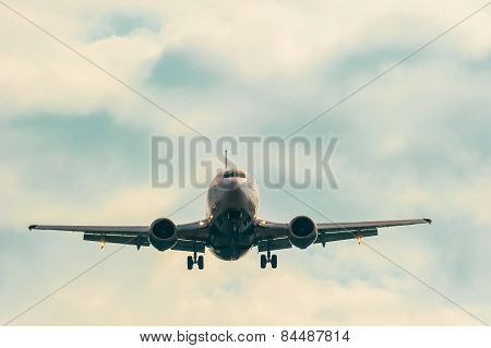 Moving Passenger Plane In The Sky