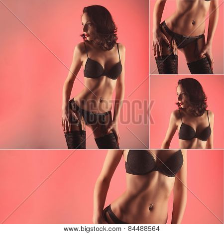 sexy woman stripper on pink background studio, collage