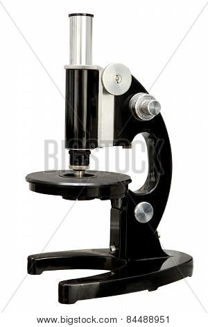 Old Microscope On A White Background.isolated Old Microscope.