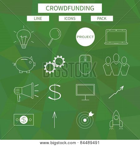 Flat line icons set of crowd funding service, investing platform for creative project, development o