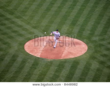 Blue Jays Pitcher Shaun Marcum Throws Pitch Ball Can Be Seen Leaving Hand