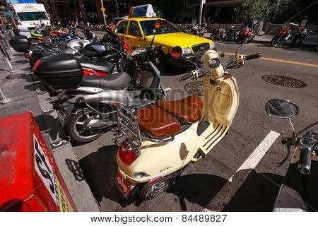 San Francisco, Us - Sept 22, 2010: The Parking Of Motorbikes On The Street Of Downtown In San Franci