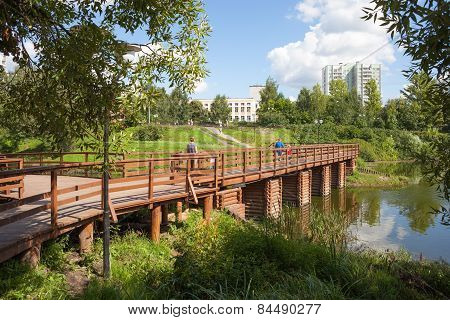 Wooden Bridge And Chermyanka River