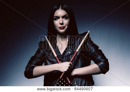 Drummer Woman With Sticks