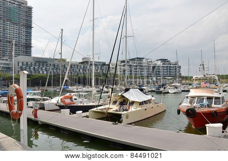 Yacht Are Docking At The Marina Bay In The Puteri Harbour, Johor
