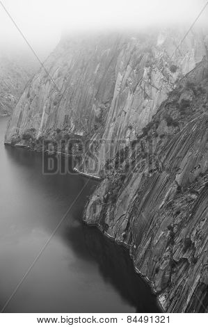 Landscape With River And Cliffs In Arribes Del Duero. Spain
