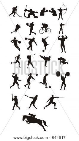sport icons and silhouette