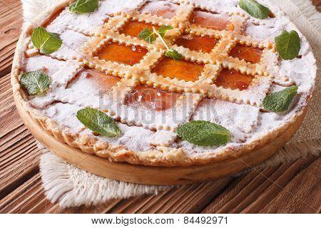 Italian Tart With Apricot Jam And Mint Close Up Horizontal
