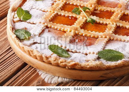Italian Crostata With Apricot Jam And Mint Macro Horizontal