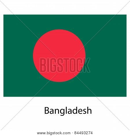 Flag  Of The Country  Bangladesh. Vector Illustration.