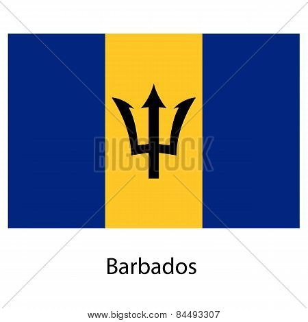 Flag  Of The Country  Barbados. Vector Illustration.