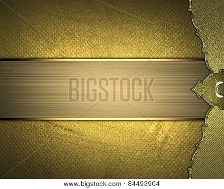 Grunge Gold Background With A Gold Edge And Gold Ribbon. Design Template. Design Site