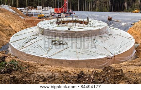 Base For A Windmill Built In The Wind Farm