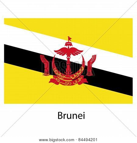 Flag  Of The Country  Brunei. Vector Illustration.